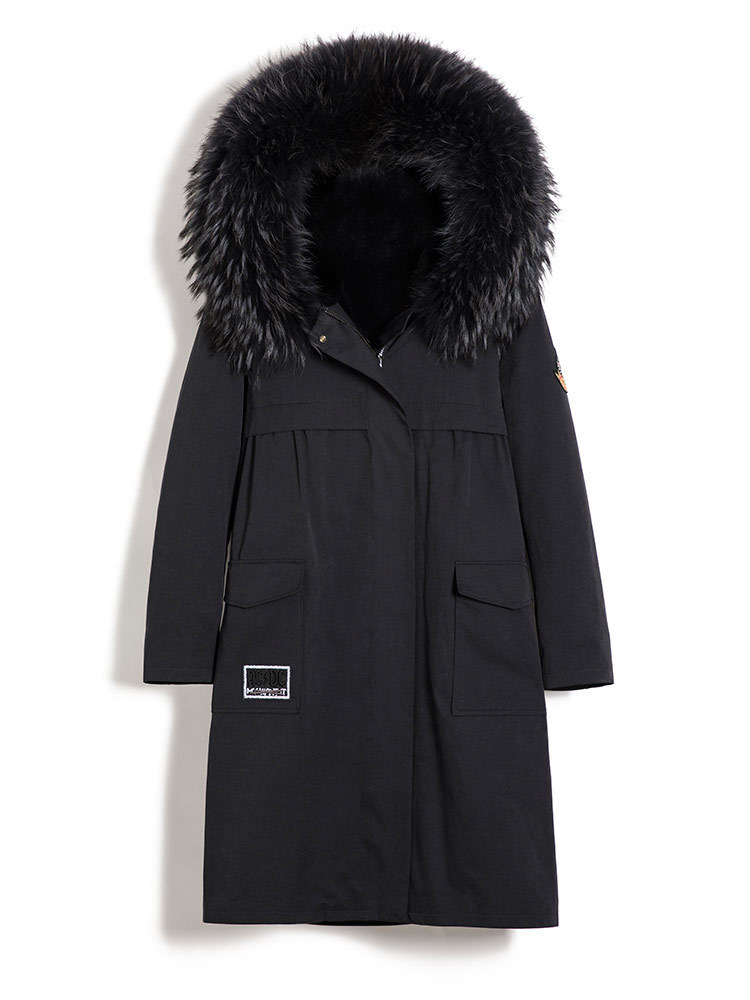Rabbit Natural Fur Liner Parka Women Clothes 2020 Autumn Winter Jacket Women Raccoon Fur Collar Long Trench Coat MY3538