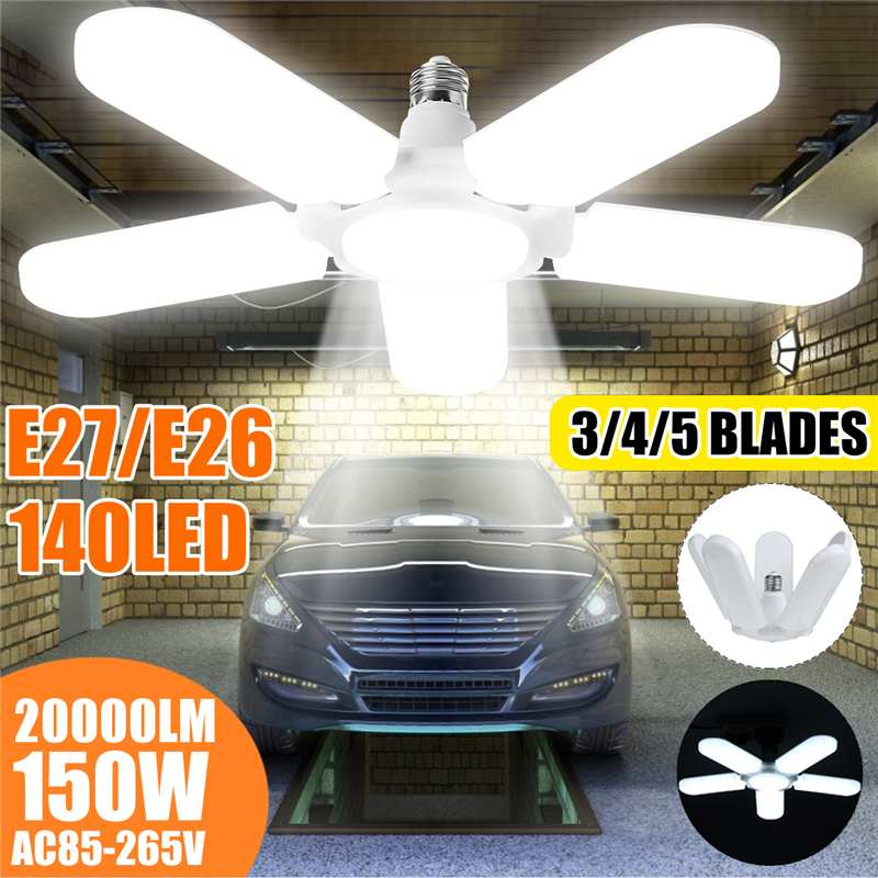 LED Garage Lights Foldable E27 Bulb 2/3/4/5+1 Adjustable Fan Blades Deformable Ceiling Lighting 6500K AC85-260V For Warehouse