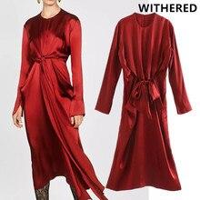 Увядшее английское офисное женское элегантное сатиновое Плиссированное вечернее платье с бантом vestidos de fiesta de noche vestidos midi платье блейзер