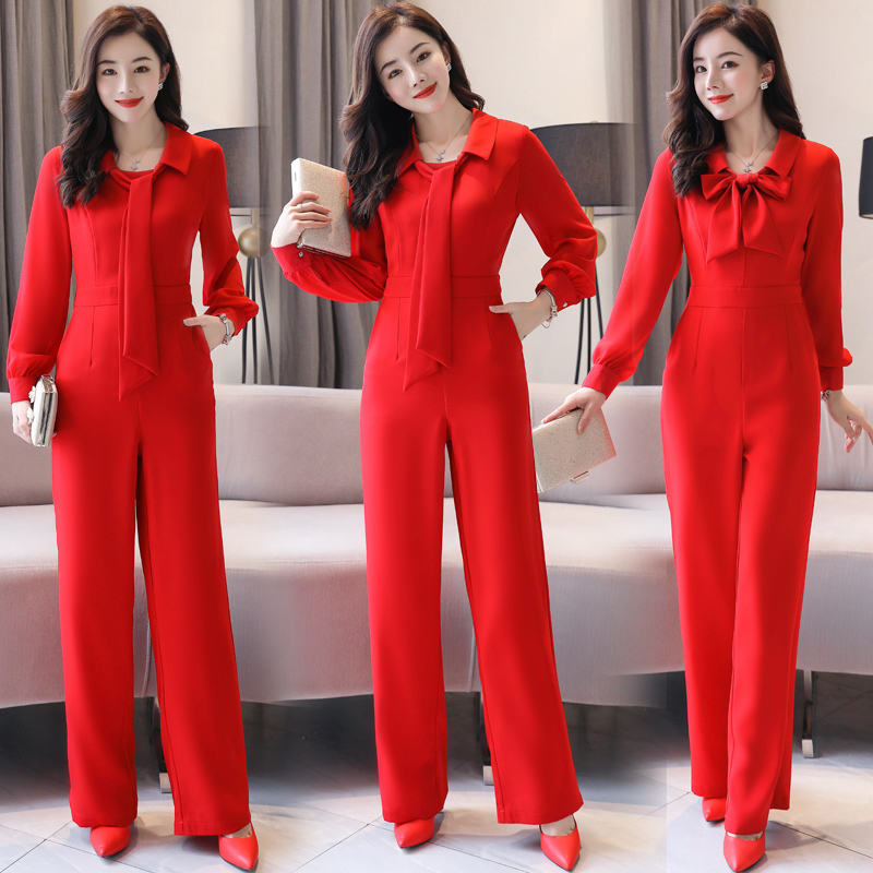 Women Fashion Elegant Overalls Rompers Belt Jumpsuit Female Long Sleeve Overall Trousers Party Playsuit Work Office Lady