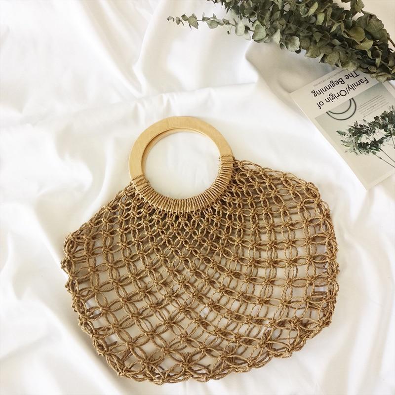 Women Handbag Summer Handmade Beach Mesh Bag Bohemia Straw Bags Wooden Round Handle Knitting Net Bag Hollow Woven Vacation Tote