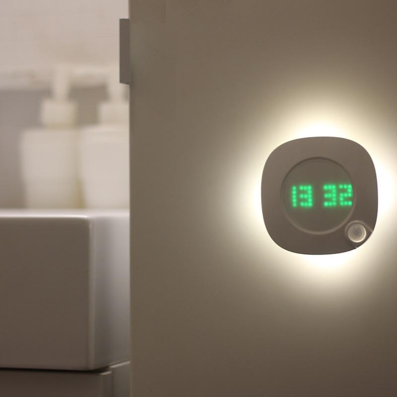 Умные настенные часы со светодиодным датчиком и подсветкой, USB зарядка, ночник, электронные настенные часы для дома, спальни, туалета, кухни, украшения|Настенные часы|   | АлиЭкспресс