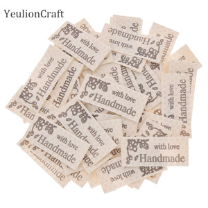 Chzimade 50/100Pcs Hand Made Cloth Labels Handmade With Love Garment Labels Diy Sewing Materials Supplies