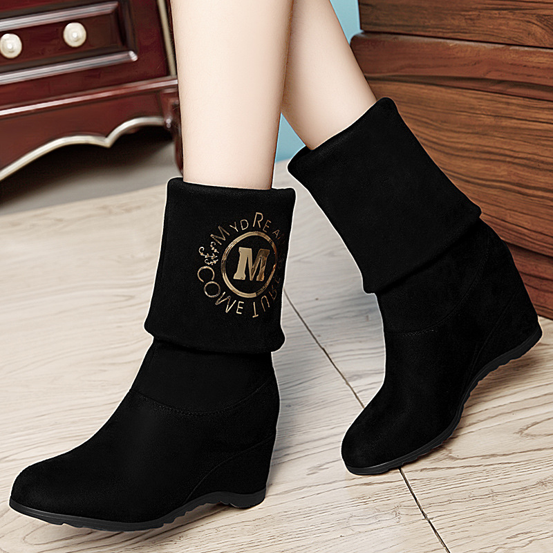 Dunhu 2019 Winter New Style Revers In Long Canister Boots Elevator Thigh Boot Waterproof Platform WOMEN'S Shoes A19-37