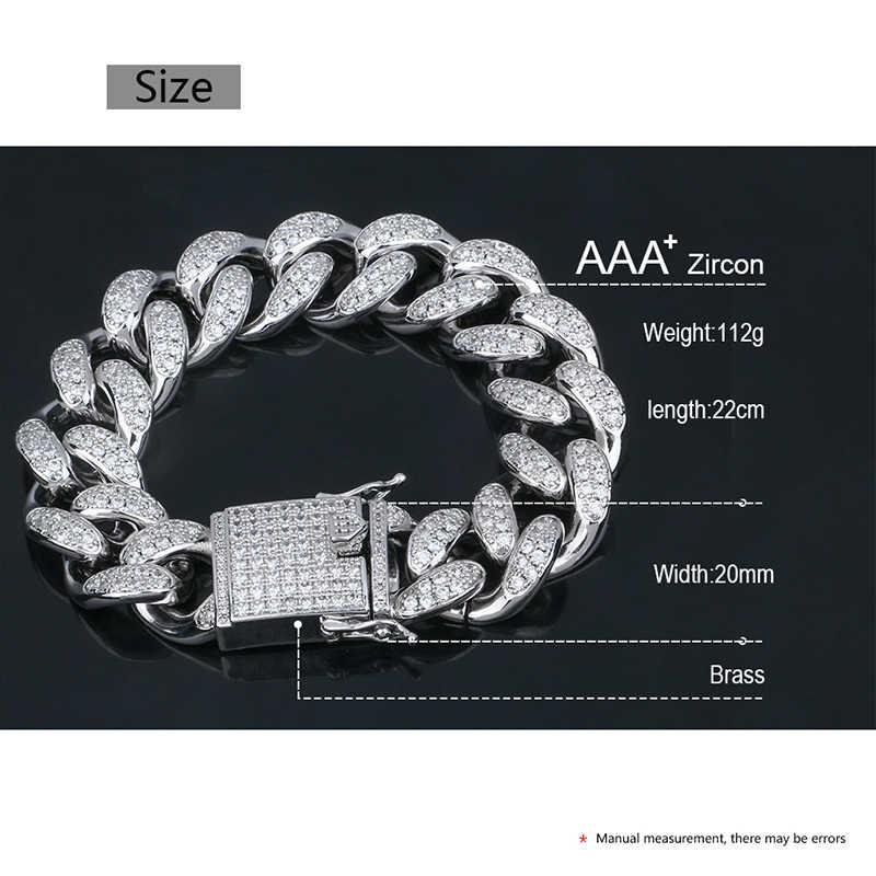 ใหญ่ 20 มม.กว้างยุ้ยสร้อยข้อมือ Cuban Link Chain สำหรับผู้ชาย Hip Hop บุคลิกภาพเครื่องประดับ AAA Cubic Zirconia แฟชั่นคุณภาพดี
