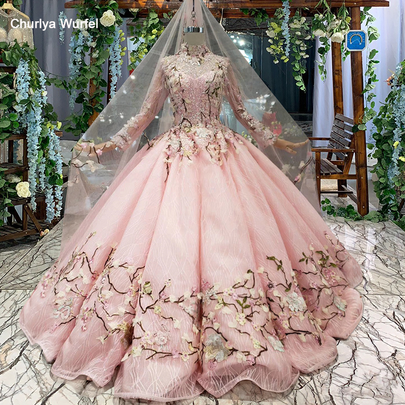 LS169901-1 Swollen Pink Wedding Dresses With Wedding Veil Flowers High Neck Lace Up Luxury Muslim Wedding Gown 2019 New Fashion
