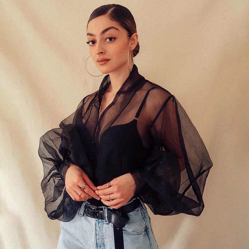 2019 See-through Women Puff Sleeve Mesh Blouses Solid Color Loose Long Sleeve V-Neck Shirts Eleghant Ladies Buttons Shirts Tops
