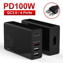 100 ワット pd アダプタ充電器 qc 3.0 4 ポート macbook huaweibook eu 英国 au 米国ソケット