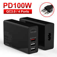 100W PD adapter chargers QC 3.0 4 Port for macbook huaweibook EU UK AU US Sockets