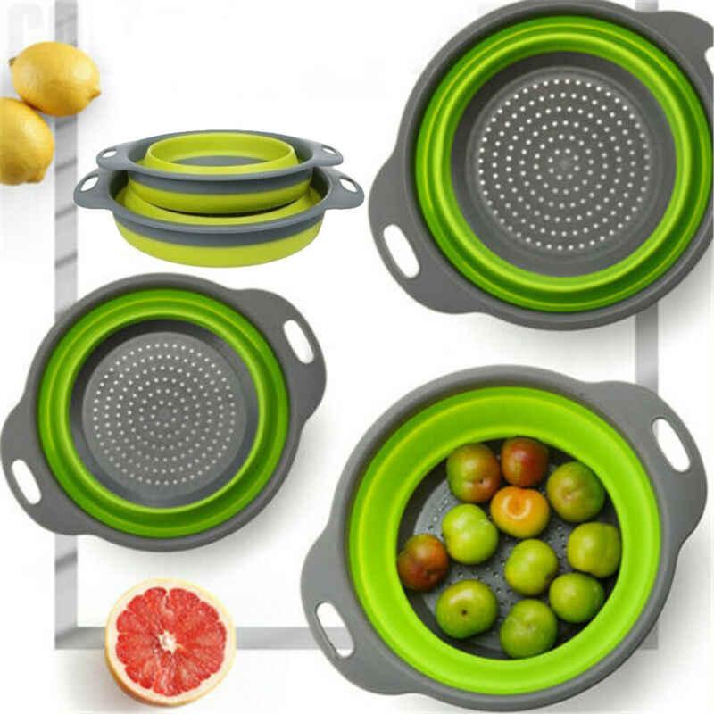 Set de Coladores Plegable Redondo Colador de Fruta Vegetal Comida Seguro en Agua Hirviendo Naranja Incluye 2 Tama/ños ANPI 2PCS Escurridor Plegable