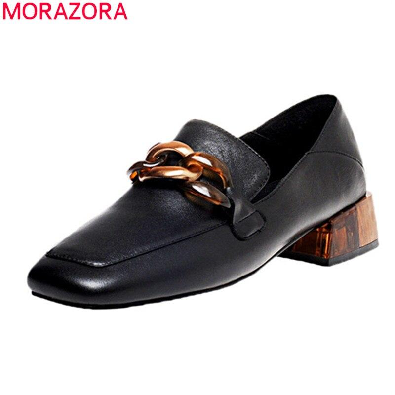 MORAZORA Big Size 34-42 2020 New Casual Shoes Woman Genuine Leather Black White Single Shoes Square Heels Fashion Women Pumps