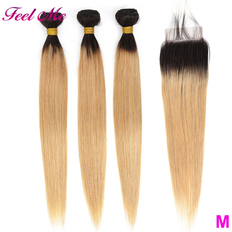 Malaysian Hair Bundles With Closure Blonde Straight 3 Bundles With Lace Closure 1b/27 Omber Hair Non-remy Middle Ratio Hair
