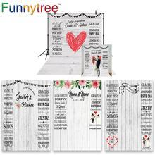 Funnytree Chụp Ảnh Gỗ Giấy Dán Tường Phông Nền Cưới Cô Dâu Photocall Boda Tùy Chỉnh Hình Nền Photophone Photozone Trang Trí