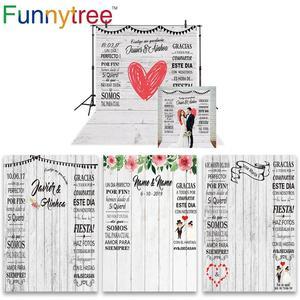 Image 1 - Funnytree fotoğraf ahşap duvar kağıdı zemin düğün gelin photocall boda özel fotoğraf arka plan photophone photozone dekor