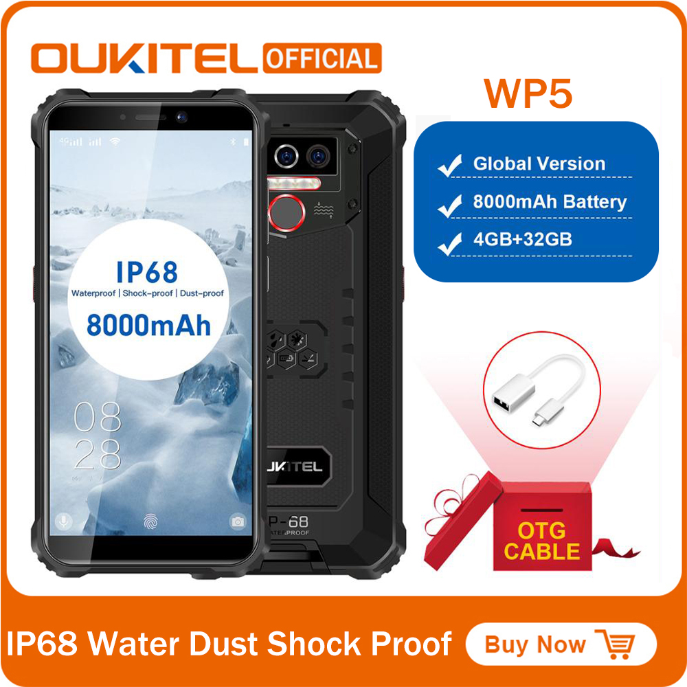 OUKITEL WP5 IP68 Waterproof Smartphone MT6761 5.5 inch Screen 5V/2A 8000mAh Battery 13MP Triple Cameras 4GB 32GB Mobile Phone