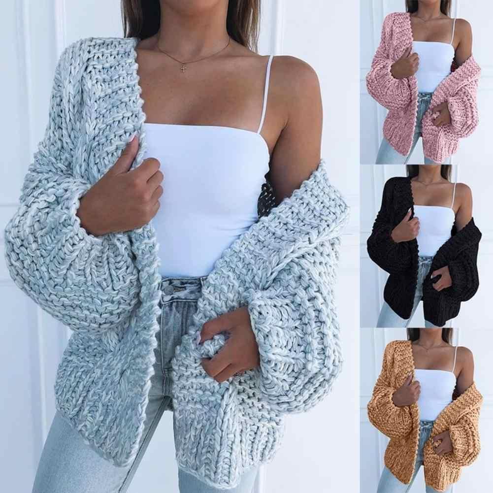Kış moda kadınlar kalın kazak hırka sıcak düz renk açık ön ceket Polyester Spandex sıcak açık ön tüm maç kazak
