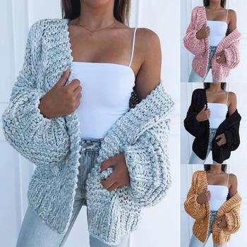 Winter Fashion Women Thick Sweater Cardigan Warm Solid Color Open Front Coat Polyester Spandex Warm Open Front All-match Sweater