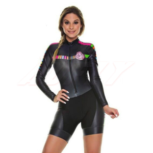2020 Team Kafitt Colombia Triathlon Women's Cycling Jersey Skinsuit Jumpsuit Maillot Cycling Ropa Ciclismo Long Sleeve Blue Set