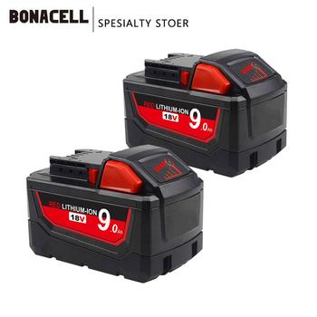 Bonacell 18V 9000mAh M18 XC akumulator litowo-jonowy wymienna bateria dla Milwaukee 48-11-1815 M18B2 M18B4 M18BX L70 tanie i dobre opinie Li-ion 3000mAh 6000mAh 9000mAh Baterie Tylko Pryzmatyczny for Milwaukee M18 Battery Replacement Li-ion Battery 1 year warranty