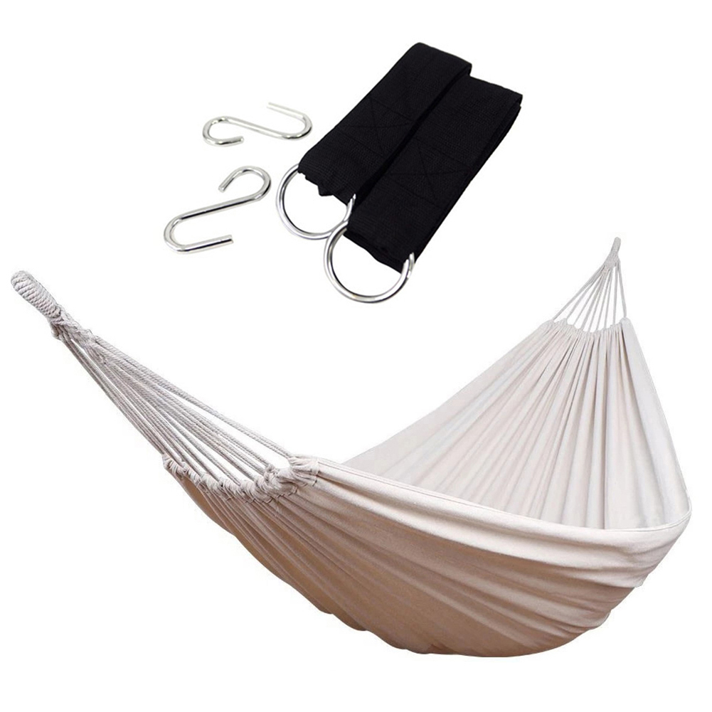 Hammock Two Person Bed With Soft Woven Cotton Fabric Carrying Pouch For Backyard Porch Outdoor And Indoor Use Summer Bed