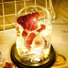 Oso de flores eterno rosa en cubierta de cristal, lámpara de cúpula, luz LED, decoración de galaxia para dormitorio, boda, San Valentín, regalo de Navidad
