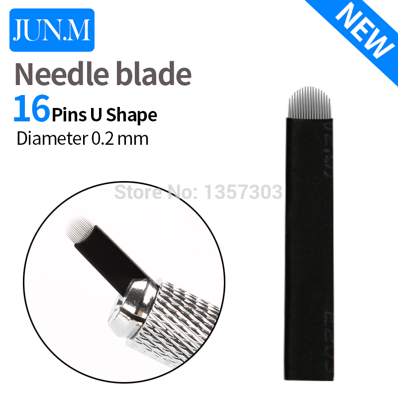 50 Pcs 16 Pin Needle U Shape Eyebrow Tattoo Superior Microblading Blades For Permanent Makeup Manual Pen 3D Eyebrow Embroidery