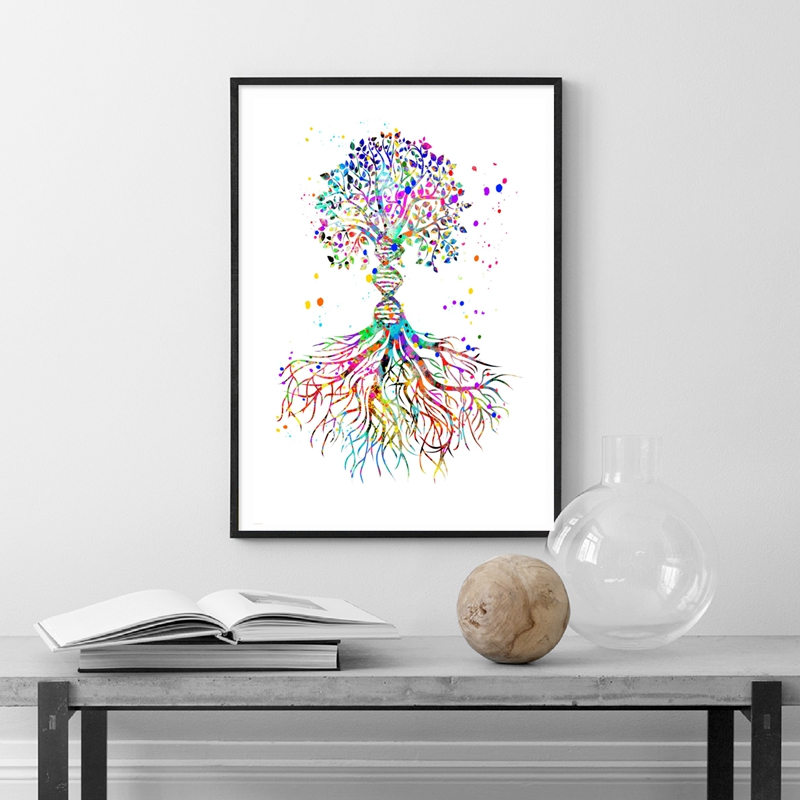 DNA Helix Watercolor Print Biology Science Art Genetic Art Medical Art Poster