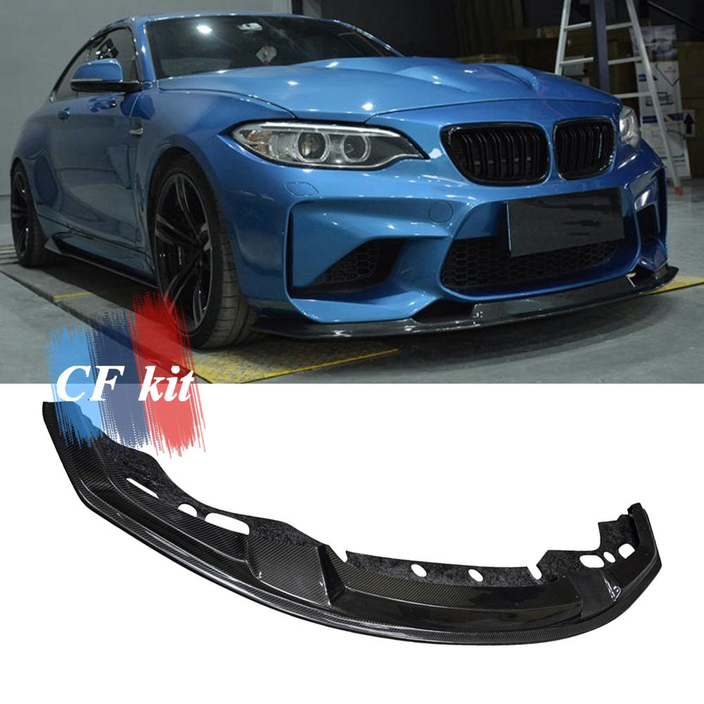 CF Kit MTC Style Front Lip For BMW 2016 2017 F87 M2 Surface Bumper Car Accessories 3k Carbon Fiber Car Styling Bumpers     - title=