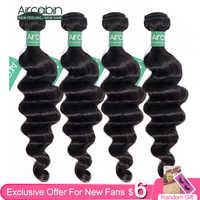 Aircabin-extensiones de cabello humano Remy mechones de pelo peruano ondulado, Color Natural, más ondas, envío rápido