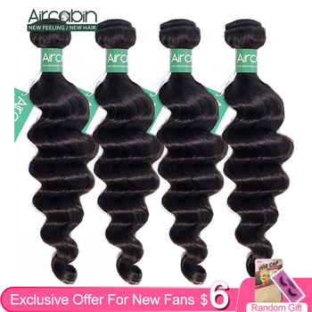Aircabin Hair Loose Deep Wave Bundles Peruvian Remy Human Extensions Natural Color More Fast Shipping