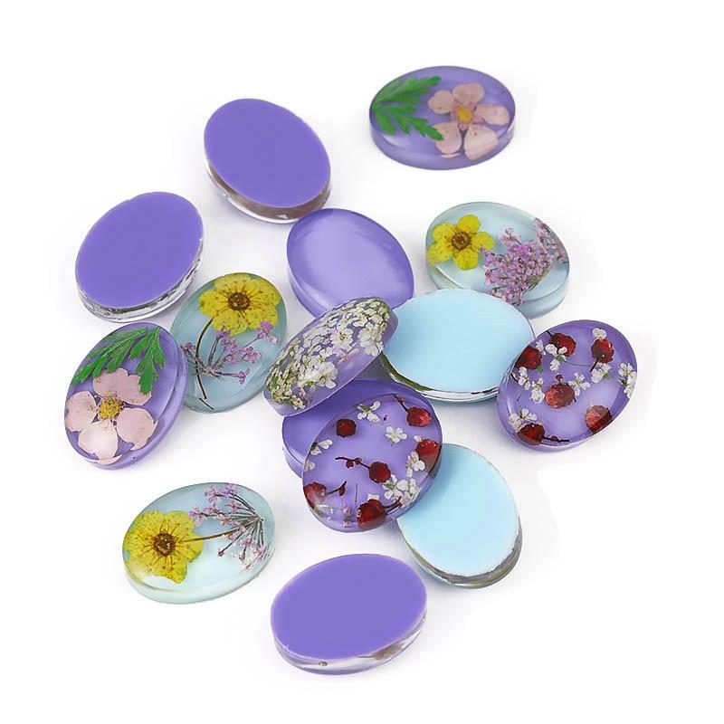 5 шт Овальный стеклянный кабошон с засушенными цветами из эпоксидной