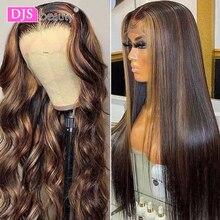 Evidenzia parrucca capelli brasiliani onda del corpo 13*6 T parte parrucca frontale in pizzo trasparente parrucca per capelli umani di colore marrone parrucche per donne