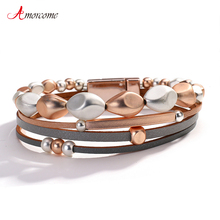 Beads Bracelets Magnetic-Buckle Jewelry Gift Female Amorcome Geometric with Metal Slim