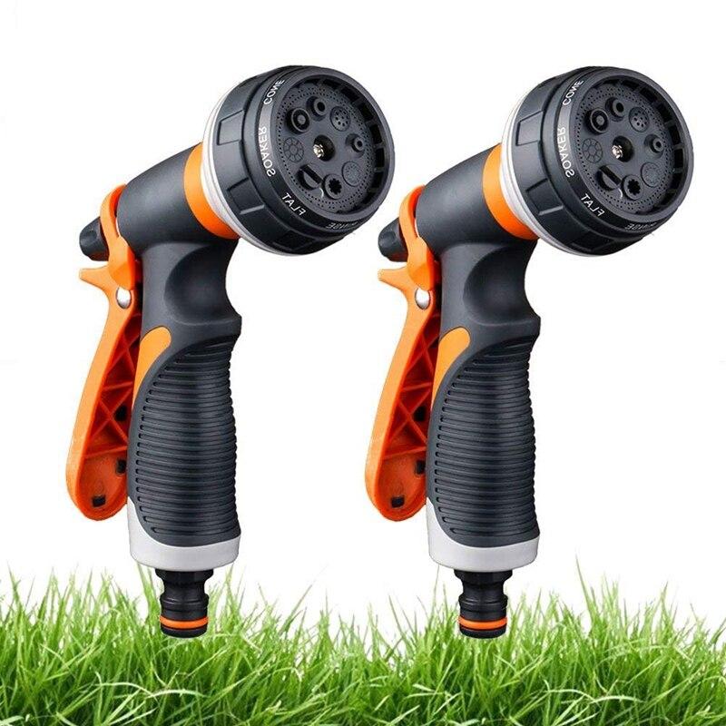 2 Pack Garten Schlauch Düse, 8 Einstellbare Schlauch-Hochdruck Hand Sprayer für Bewässerung Rasen, auto Waschen, Pet Baden, Bürgersteig