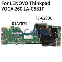 KoCoQin Laptop motherboard For LENOVO Thinkpad YOGA 260 LA C581P SR2EY i5 6200U Mainboard 01AY879 LA C581P