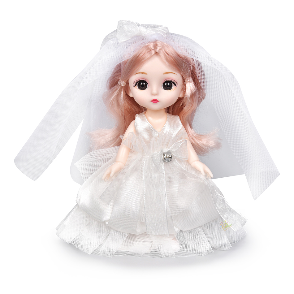 6pcs 5.9inch 13 Moveable Fashion bjd Boneca Dolls Joint body Ball Jointed Reborn Wedding Dress Make Up Dolls Toys Gift For Girls 10