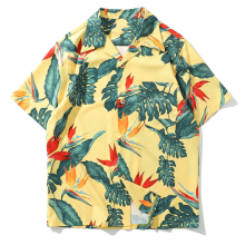 New Summer Floral Beach Shirts Men Casual Hip Hop Holiday Print Short Sleeve Streetwear Top