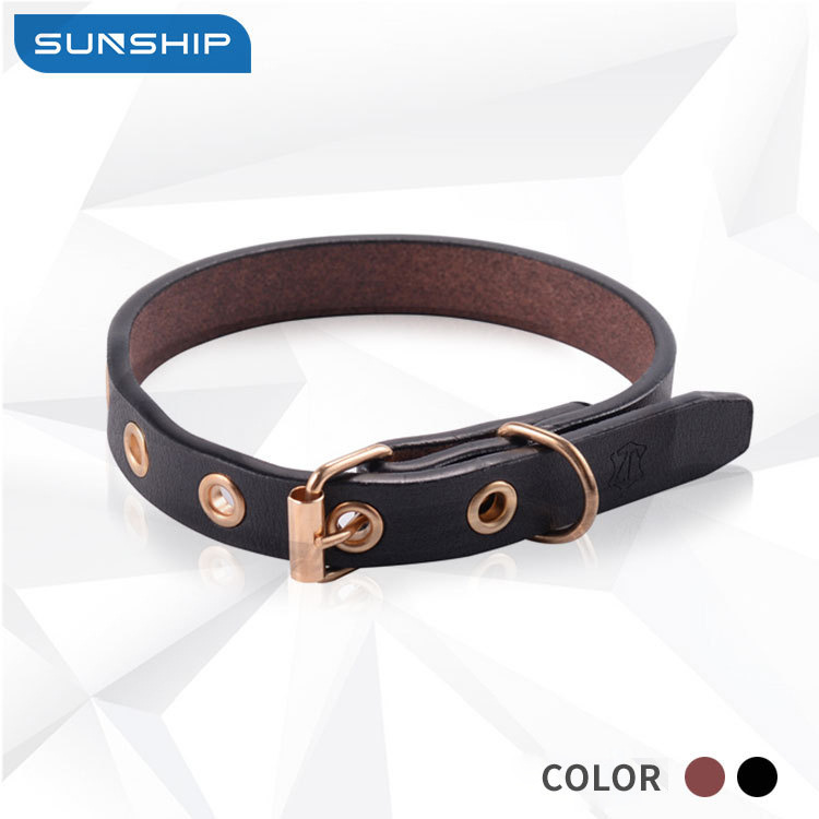Europe And America Hot Sales Dog Supplies Pet Collar Full-grain Leather Classic Dog Collar Sunship Boutique