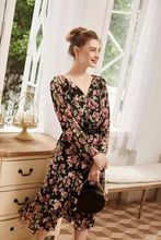 100% ผ้าไหมชุดสตรี2020ฤดูร้อนใหม่Roseพิมพ์ลูกไม้Ruffle Midiชุด