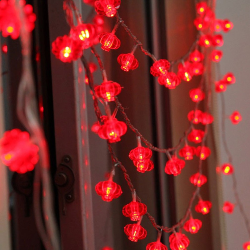 20 LEDs Round Red Lanterns String Lights USB Fairy String Lights Perfect For Wedding Chinese New Year Party Decoration