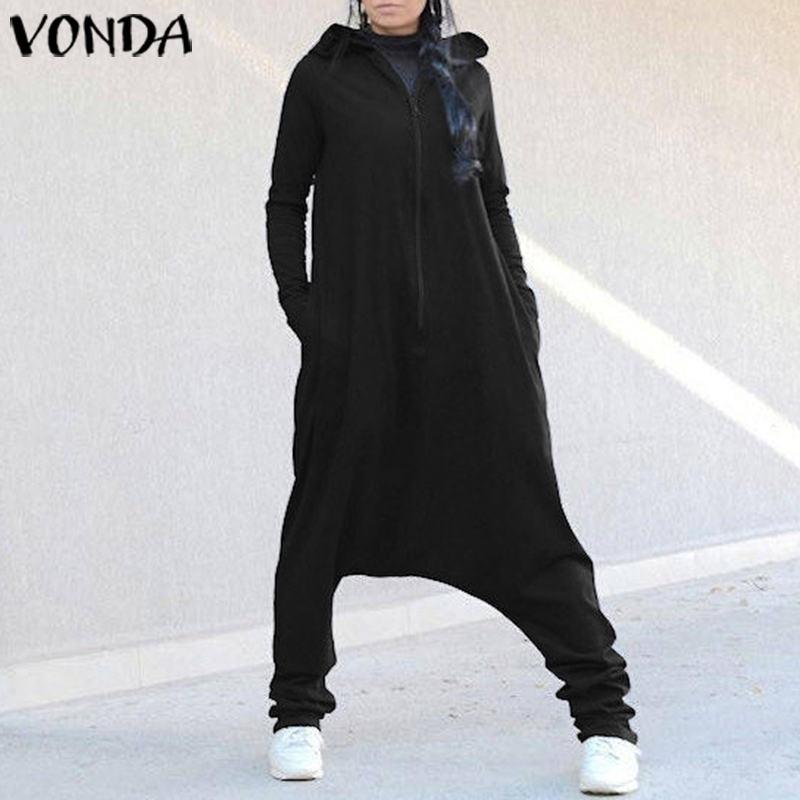 VONDA Rompers Womens Jumpsuit Female Hooded Drop Crotch Jumpsuits Romper Casual Long Sleeve Harem Trousers Plus Size Pants