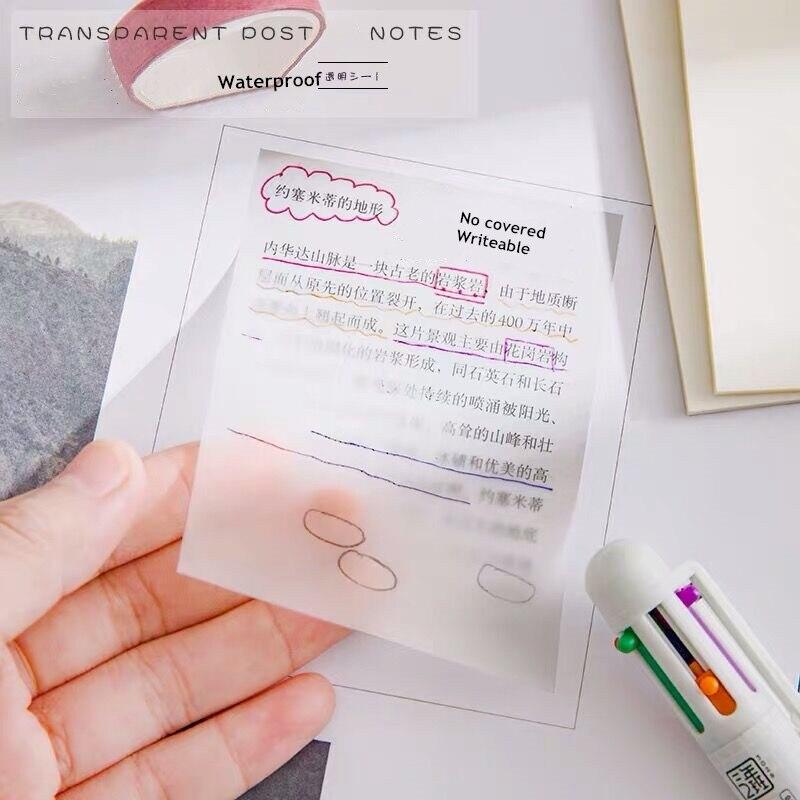 Yisuremia à prova d50 água pet transparente 50 folhas memorando papel de nota pegajoso diário para fazê-lo lista de verificação papelaria escola