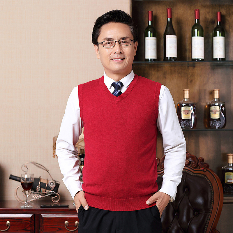 Men V-neck Vest Daddy Clothes Sweater Vest Middle-aged Wool Waistcoat Thick Waistcoat