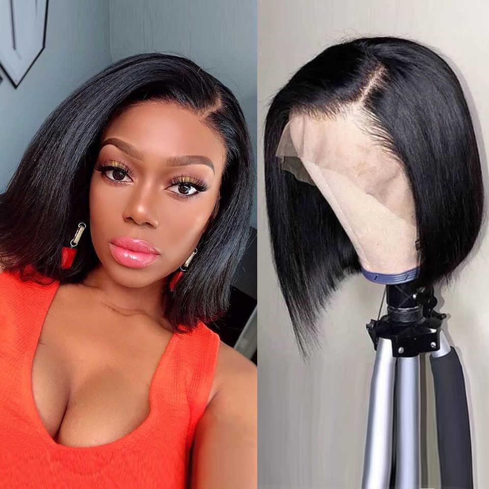 Pendek Rambut Manusia Wig Renda Frontal Wig Lurus Bob Renda Depan Wig Peru Renda Depan Rambut Manusia Wig