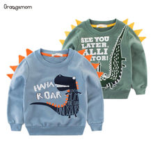 2019 Spring Children's Clothing Printed Cartoon Animal Clothes 2-8y Baby Boys Dinosaur Sweatshirt Long Sleeved Clothes Tops(China)