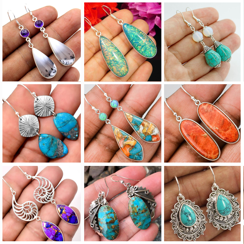 Bohemia Vintage Long Drop Earring For Women Boho Jewelry Ethnic Natural Blue Turquoises Stone Earrings Pendientes Z5C257