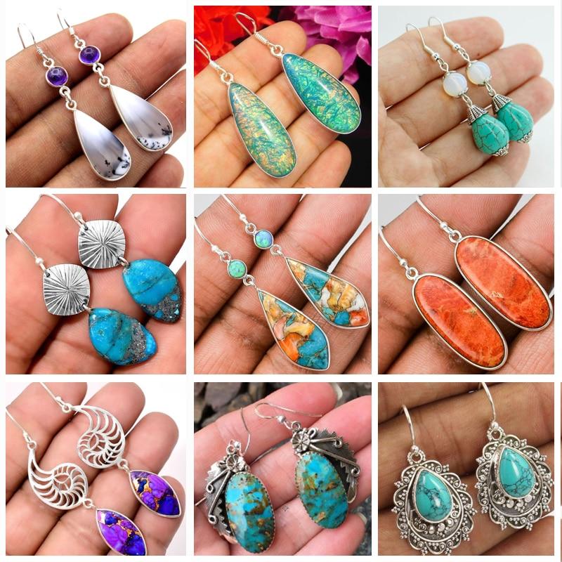 Bohemia Vintage Long Drop Earring For Women Boho Jewelry Ethnic Natural Blue Turquoises Stone Earrings Pendientes Z5C257