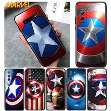 Kaptan amerika kalkan Marvel Samsung Galaxy S21 Ultra artı not 20 10 9 8 S10 S9 S8 S7 S6 kenar artı siyah telefon kılıfı