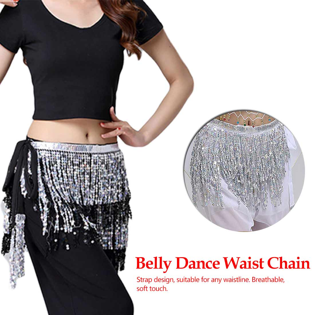 New Fashion Multi Color Chiffon Belly Dance Skirt Hip Wrap Scarf Coin Sequin Waistband Skirt Coins Bellydance Costume Belt