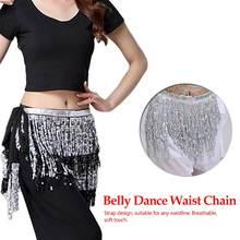 New Fashion Multi Color Chiffon Belly Dance skirt Hip Wrap Scarf Coin Sequin Waistband Skirt Coins bellydance costume belt